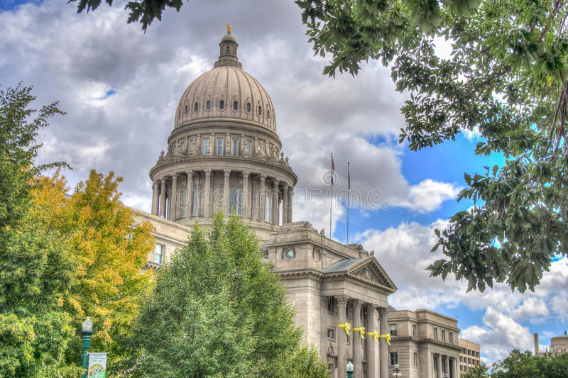 Idaho State Capital Building. Tree framed view of the Idaho State Capital building in Boise stock images