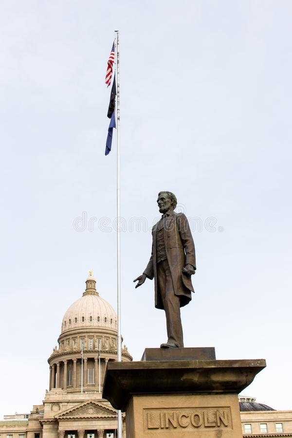Idaho State Capitol Building with a cloudy grey sky background royalty free stock photos