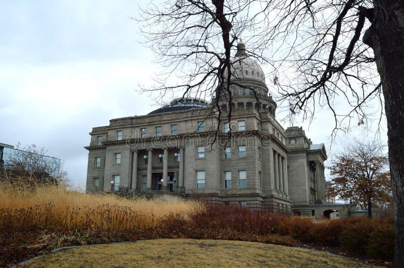 Idaho State Capitol Building West side facade på vintern royaltyfri foto