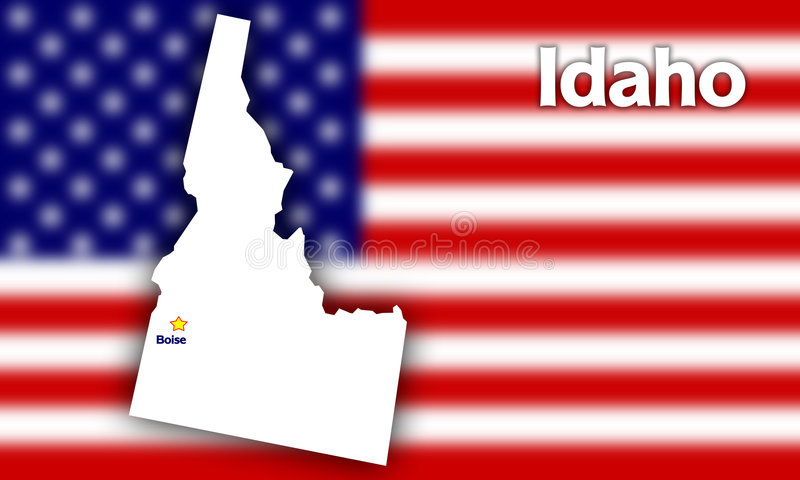 Idaho state contour. With Capital City against blurred USA flag royalty free illustration