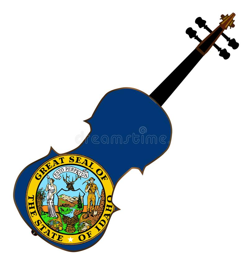 Idaho State Fiddle. A typical violin with Idaho state flag isolated over a white background vector illustration