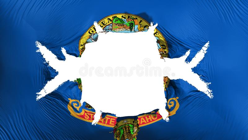 Idaho state flag with a big hole. White background, 3d rendering vector illustration