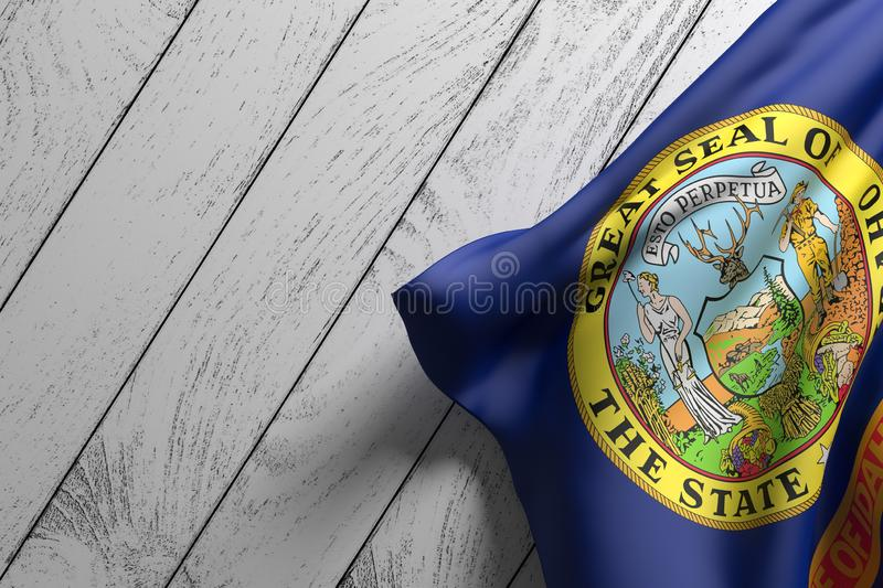Idaho State flag. 3d rendering of an American Idaho State flag on a wooden surface vector illustration