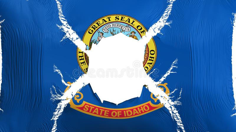 Idaho state flag with a hole. White background, 3d rendering royalty free illustration