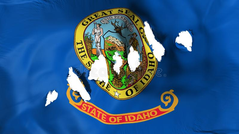 Idaho state flag perforated, bullet holes. White background, 3d rendering stock illustration