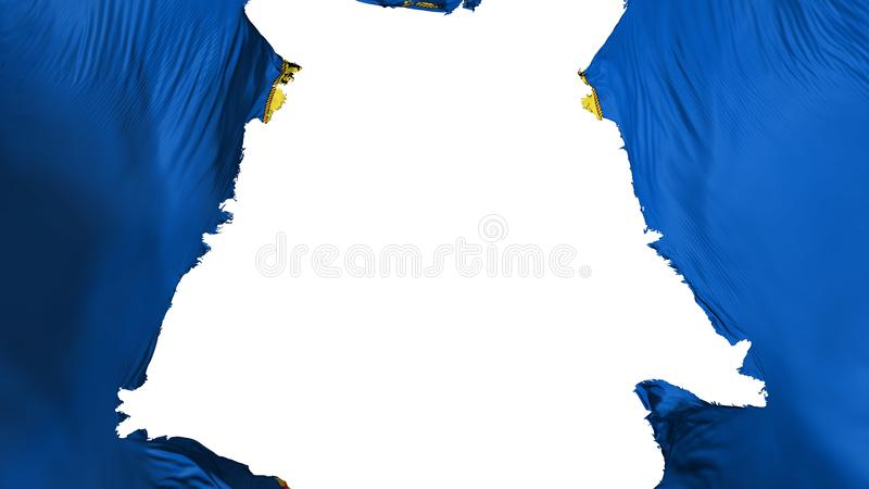 Idaho state flag ripped apart. White background, 3d rendering vector illustration