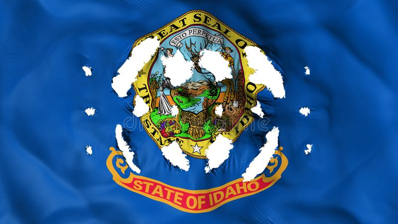 Idaho state flag with a small holes. White background, 3d rendering stock illustration