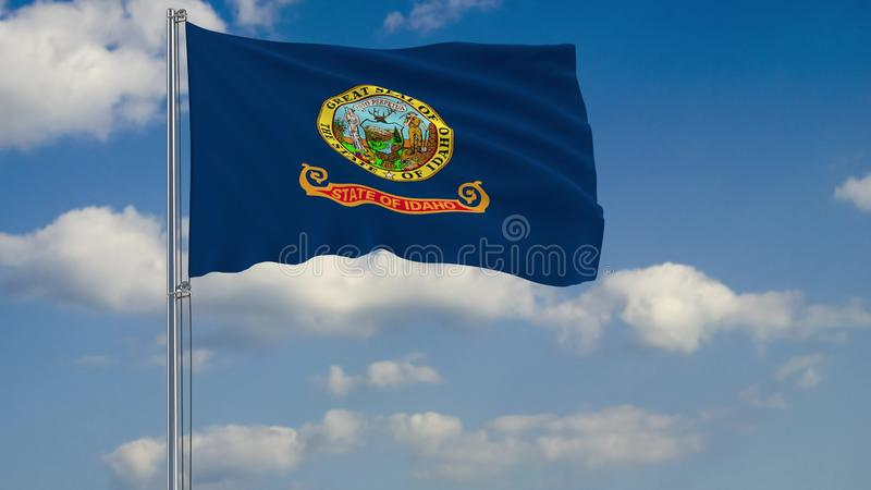 Idaho State flag in wind against cloudy sky 3d rendering. Flag of Idaho - US state fluttering in the wind against a cloudy sky 3d rendering royalty free illustration