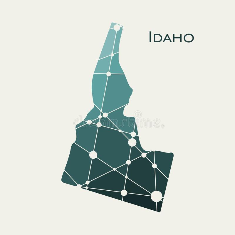 Idaho state map. Image relative to USA travel. Idaho state map textured by lines and dots pattern stock illustration