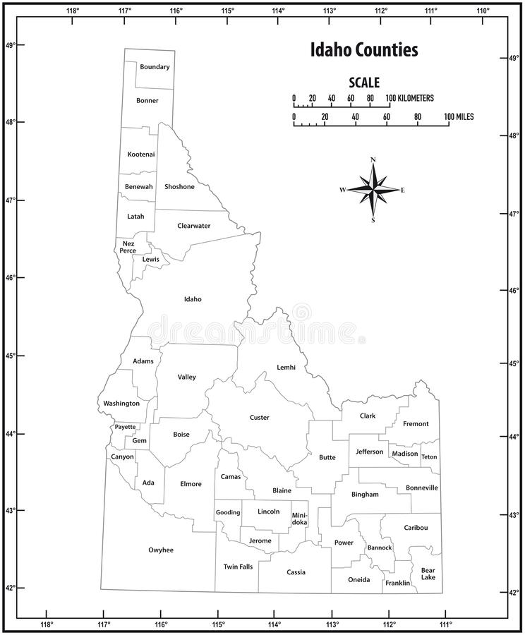 Idaho state outline administrative and political vector map in black and white.  stock illustration