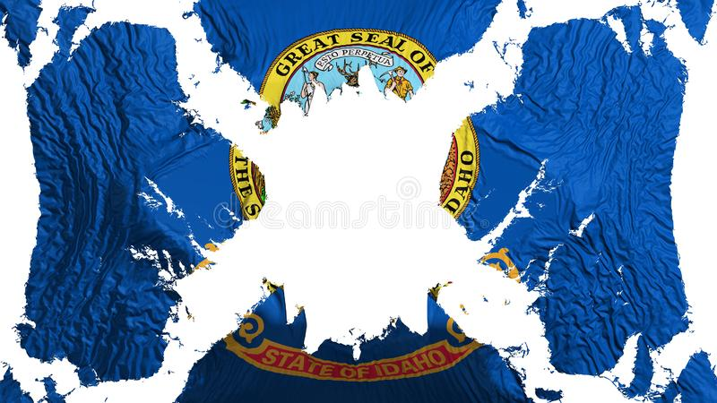 Idaho state torn flag fluttering in the wind. Over white background, 3d rendering royalty free illustration