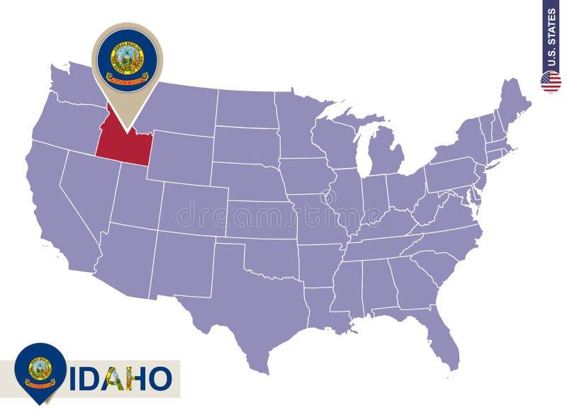 Idaho State on USA Map. Idaho flag and map. US States vector illustration