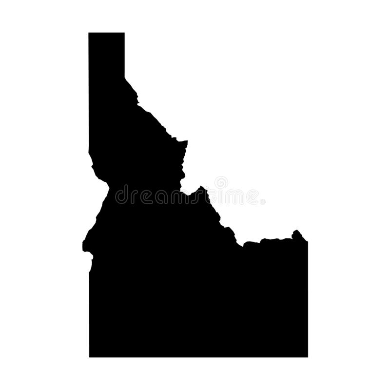 Idaho, state of USA - solid black silhouette map of country area. Simple flat vector illustration vector illustration