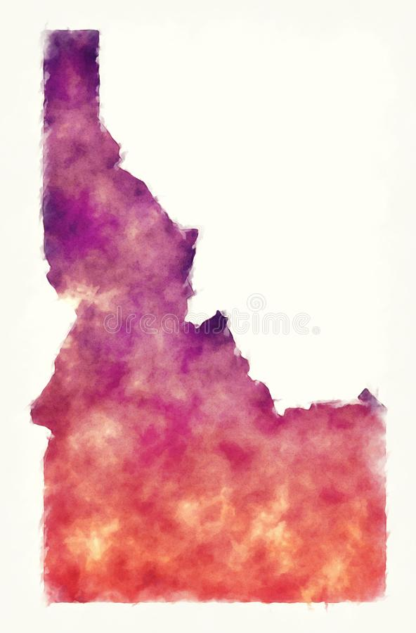 Idaho state USA watercolor map in front of a white background stock illustration
