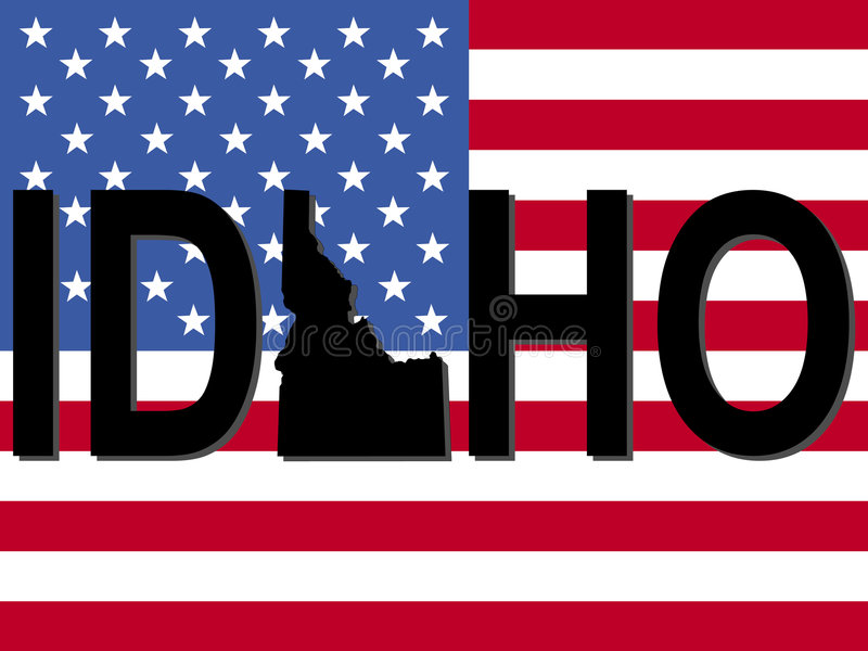 Idaho text with map. On American flag illustration vector illustration