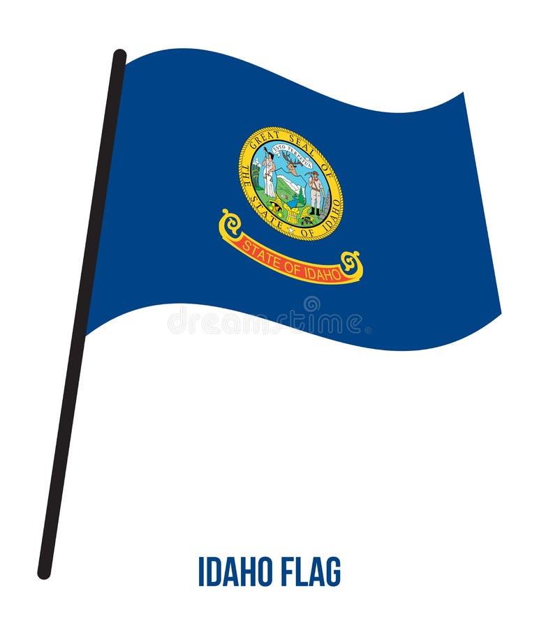 Idaho U.S. State Flag Waving Vector Illustration on White Background. Flag of the United States of America vector illustration