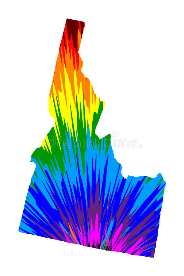 Idaho - map is designed rainbow abstract colorful pattern vector illustration