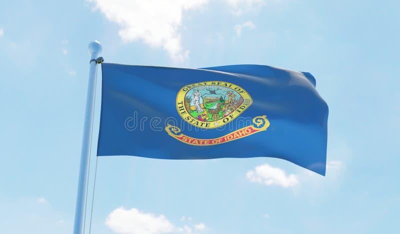 Idaho USA flag waving against blue sky. 3D image stock illustration