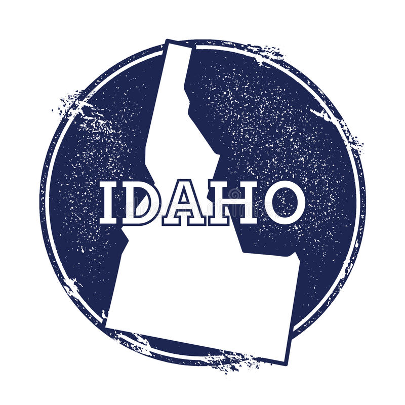 Idaho vector map. Grunge rubber stamp with the name and map of Idaho, vector illustration. Can be used as insignia, logotype, label, sticker or badge of USA royalty free illustration