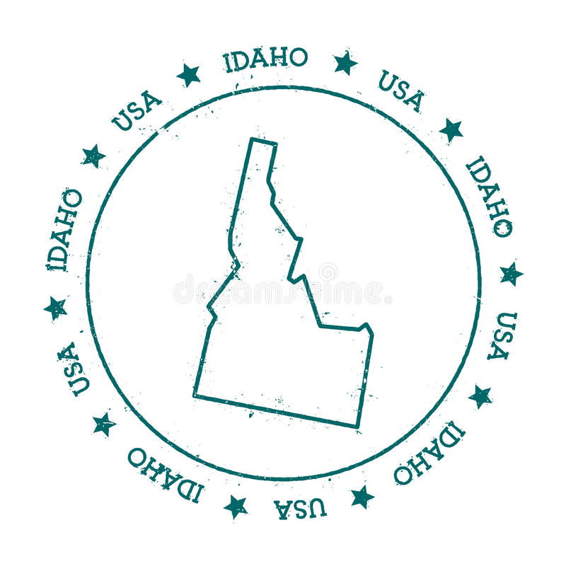 Idaho vector map. Retro vintage insignia with US state map. Distressed visa stamp with Idaho text wrapped around a circle and stars. USA state map vector vector illustration