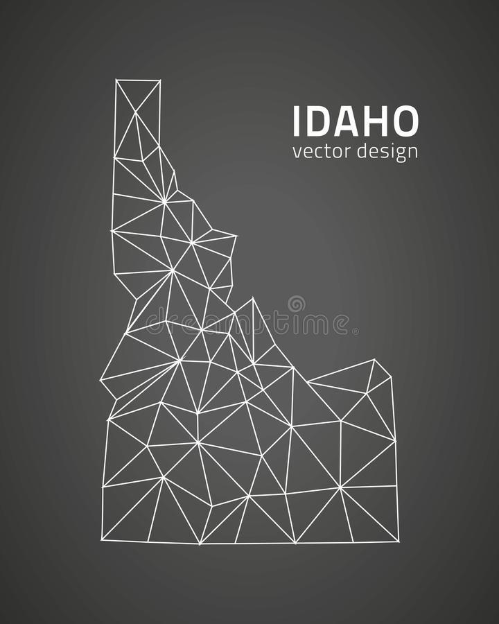 Idaho vector outline vector map. Idaho outline vector triangle mosaic map vector illustration
