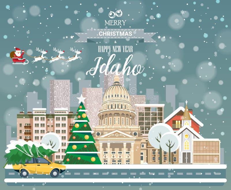 Idaho, vrolijke Kerstmis en een gelukkig Nieuwjaar! royalty-vrije illustratie
