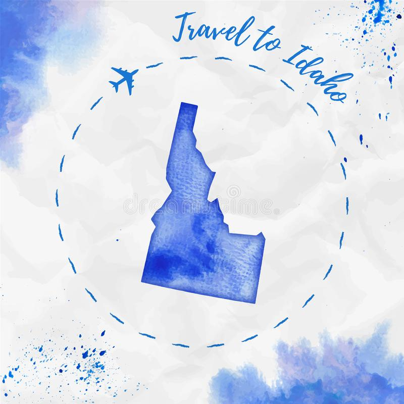 Idaho watercolor us state map in blue colors. Travel to Idaho poster with airplane trace and handpainted watercolor Idaho map on crumpled paper. Vector vector illustration