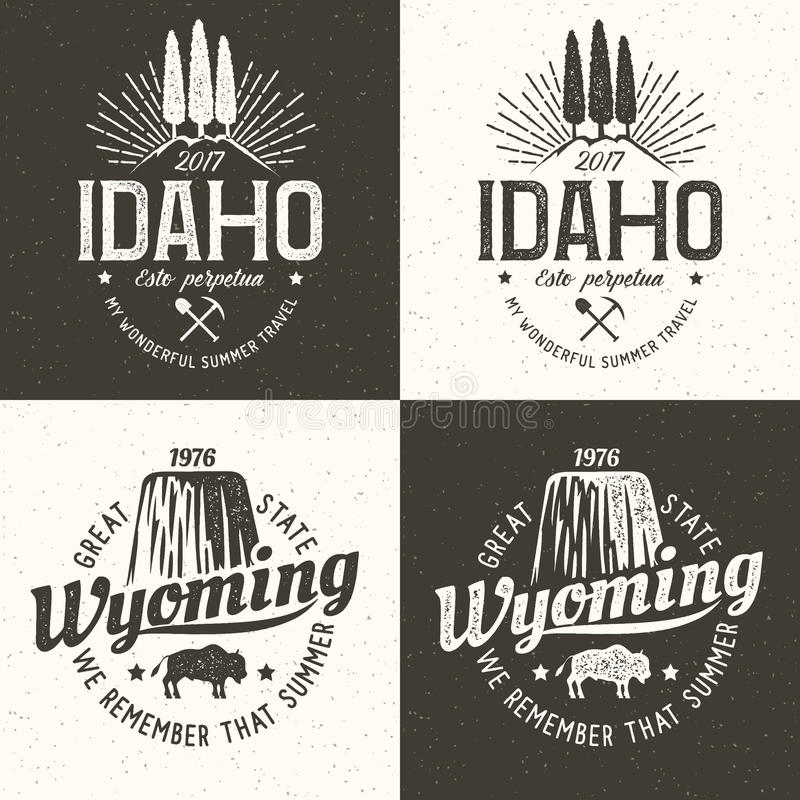 Idaho Wyoming. United States of America. Idaho vintage logo. Wyoming retro hipster emblem. Vector illustration stock illustration