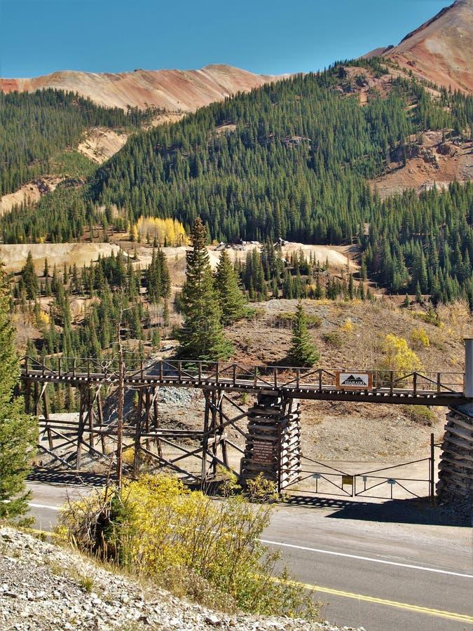 Idarado guld- min nära Silverton, Colorado arkivfoto