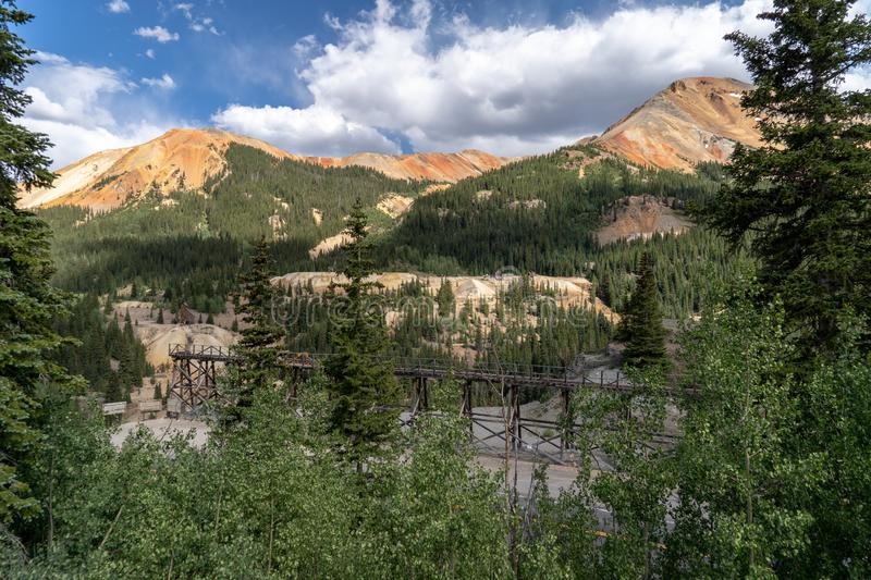 Idarado Mine in the Colorado Sneffels-Red Mountain-Telluride mining district has remnants left easily visible from the Million. Dollar Highway stock photos