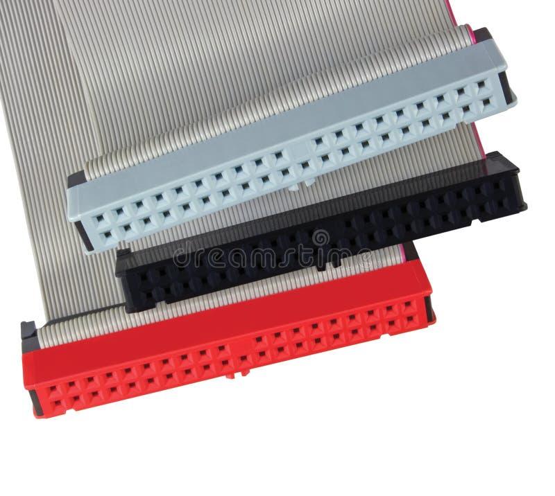 IDE连接器和带形电缆个人计算机计算机硬盘驱动器硬盘的,红色,灰色,黑色,大详细的宏观特写镜头 免版税库存图片