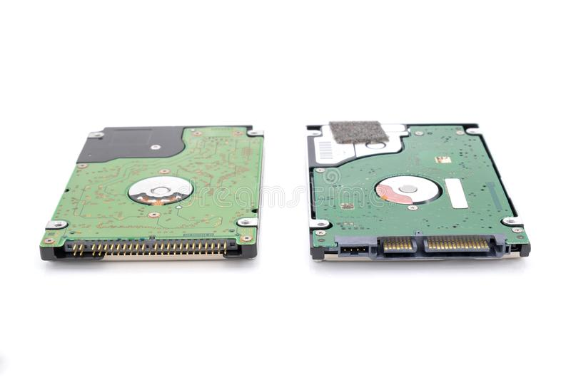 IDE and SATA hard disk drive isolated on white background royalty free stock photography