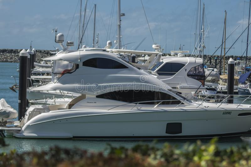 Side view of expensive yachts moored at Marina royalty free stock photo