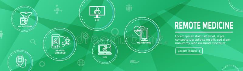 Idea abstracta de la telemedicina - iconos que ilustran salud remota y software stock de ilustración