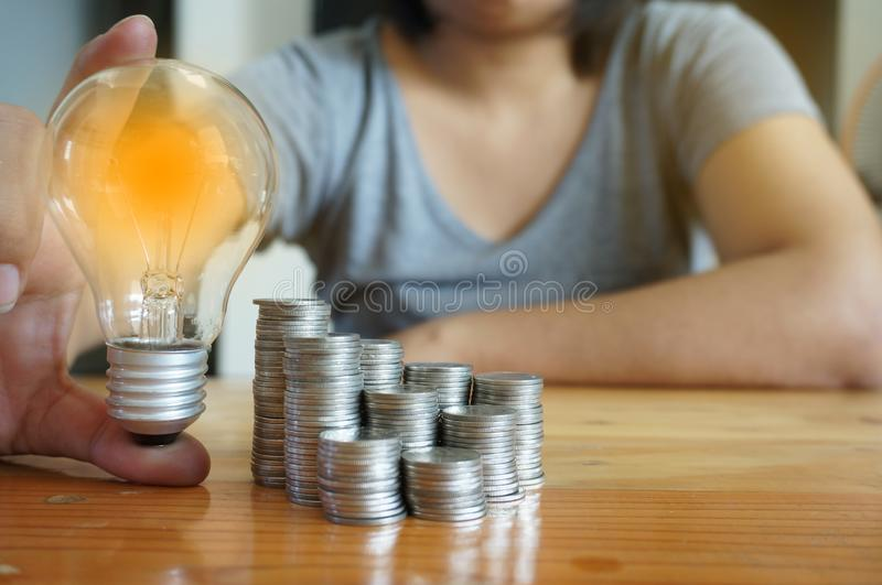 Idea accounting finance and saving energy concept royalty free stock images