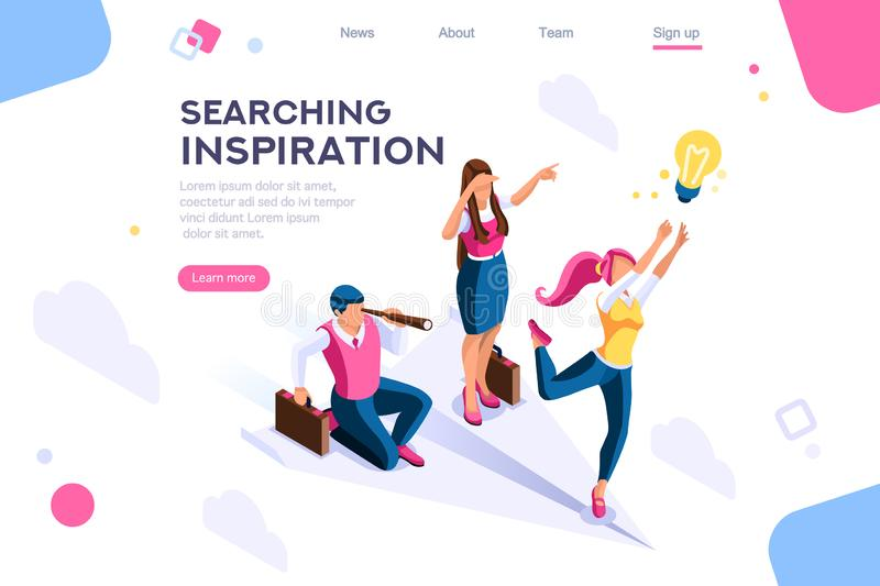 Cloud Search Idea Advancement  Cutout. Cloud header, search, idea advancement. Man cutout, flat color icons, creative illustrations, isometric infographic images vector illustration