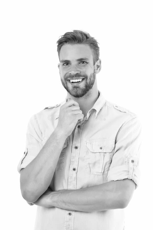 Idea agradable Individuo barbudo hermoso del hombre que sonr?e en el fondo blanco aislado El machista alegre de la sonrisa del in imagenes de archivo