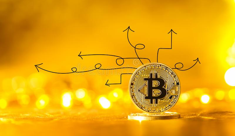 Idea arrows with bitcoin. Idea arrows with gold bitcoin cryptocurrency coin royalty free stock image