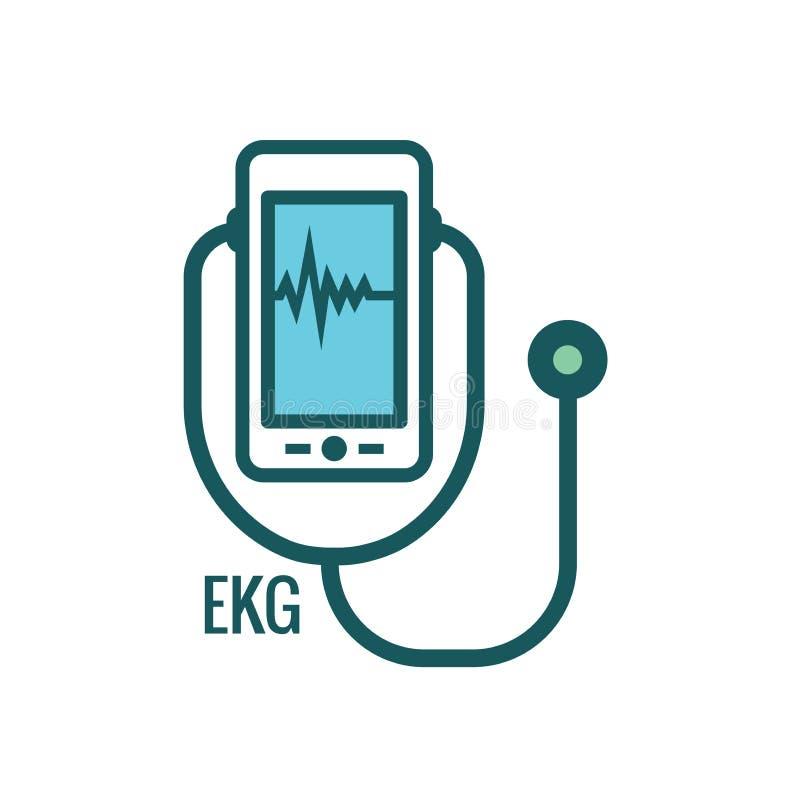 Idea astratta di telemedicina - icone che illustrano salute e software a distanza illustrazione vettoriale