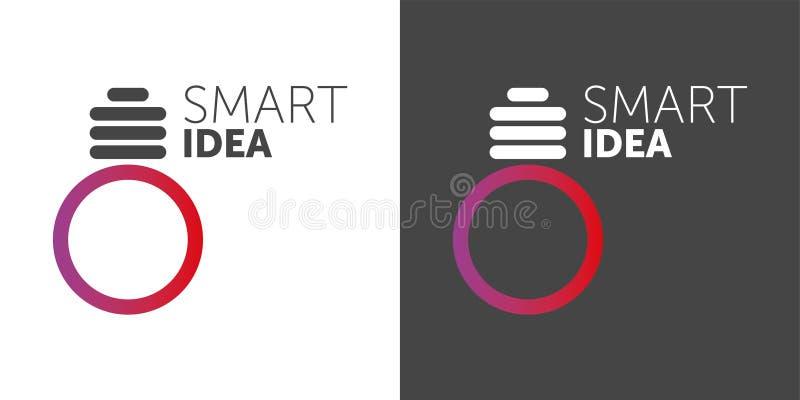 Idea astuta di LOGO logotype della lampadina di vettore una pendenza di 2 colori forma del cerchio illustrazione vettoriale