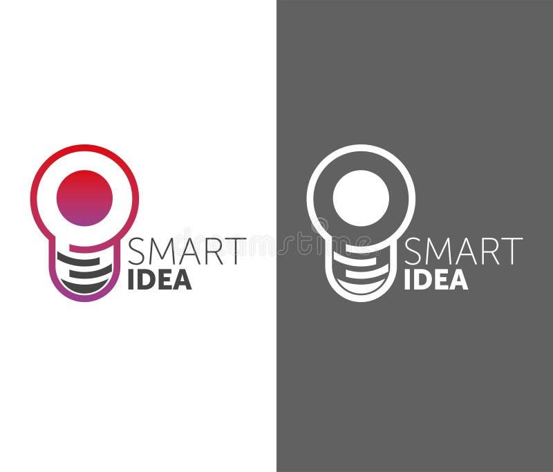 Idea astuta di LOGO logotype della lampadina di vettore una pendenza di 2 colori forma del cerchio royalty illustrazione gratis