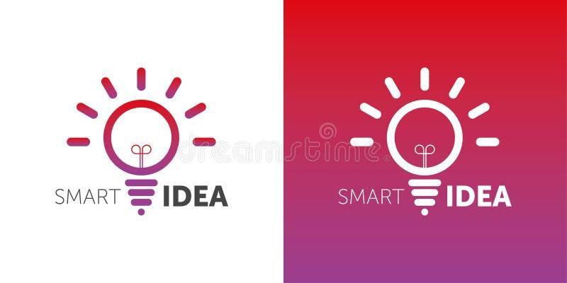 Idea astuta di LOGO logotype della lampadina di vettore una pendenza di 2 colori forma del cerchio illustrazione di stock