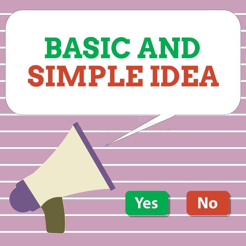 Idea básica y simple del texto de la escritura Concepto que significa imágenes mentales o sugerencias llanas una opinión común ilustración del vector