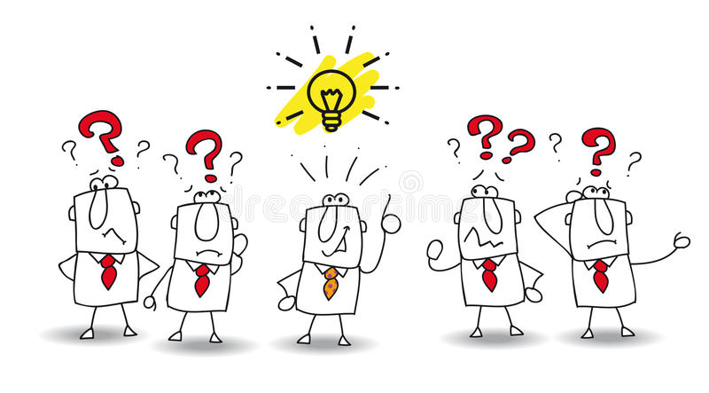 Idea of the best. Joe is the best in the team. He find the solution stock illustration