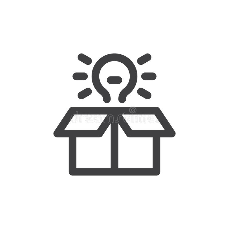 Idea box line icon, outline vector sign, linear style pictogram isolated on white. vector illustration