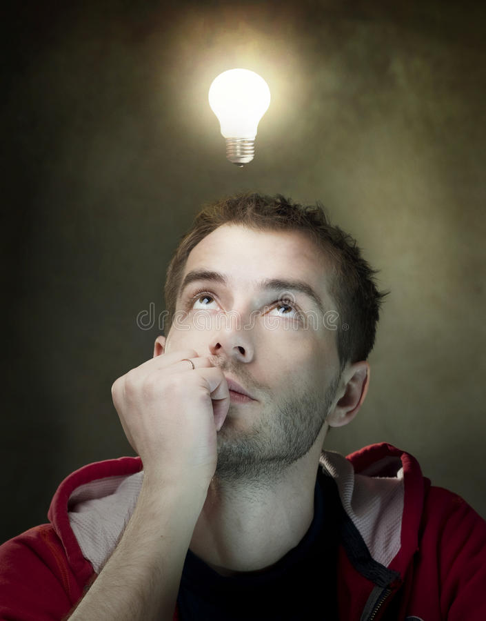Download Idea bulb above mans head stock photo. Image of concepts - 19064618