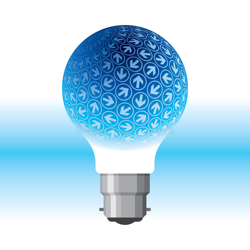 Idea bulb with arrows. Idea bulb with blue arrows, success concept stock illustration