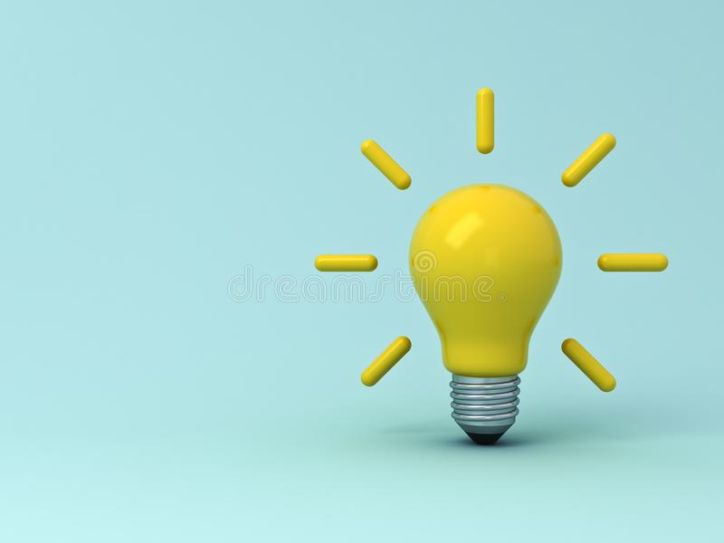 Idea bulb on light blue pastel color background with shadows stock illustration