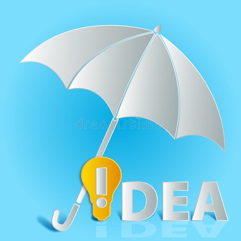Idea bulb umbrella royalty free illustration