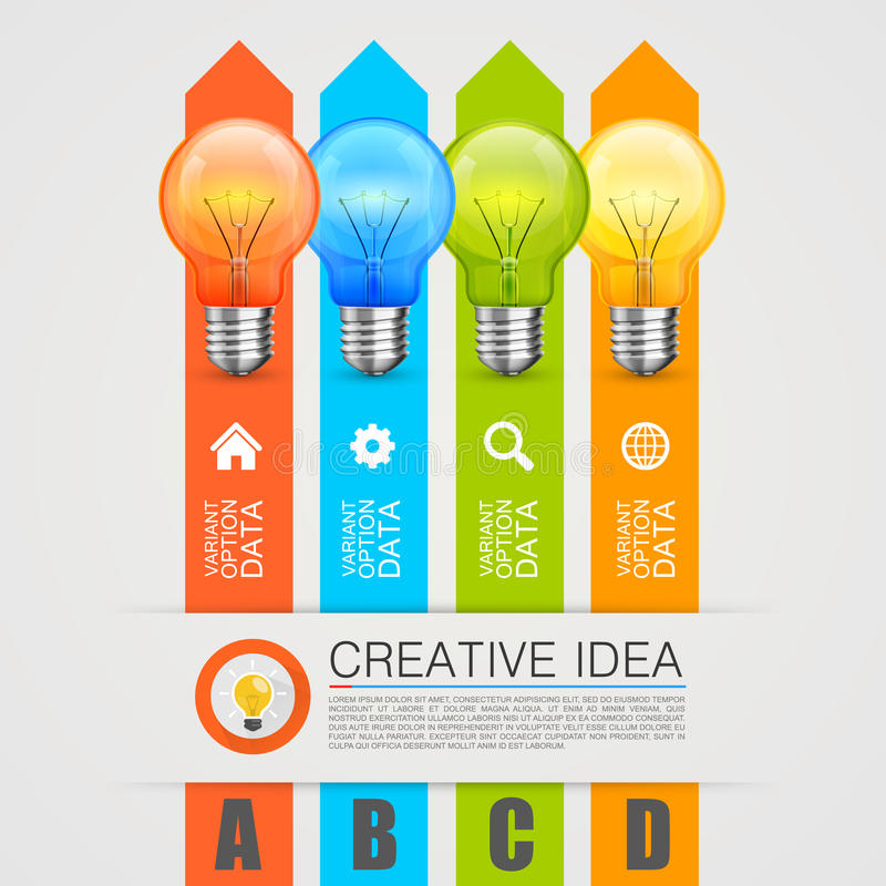 Idea of the bulbs in chart royalty free illustration